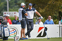 Henrik Stenson (SWE) talks with his caddie on the tee on 17 during 2nd round of the World Golf Championships - Bridgestone Invitational, at the Firestone Country Club, Akron, Ohio. 8/3/2018.<br /> Picture: Golffile | Ken Murray<br /> <br /> <br /> All photo usage must carry mandatory copyright credit (&copy; Golffile | Ken Murray)