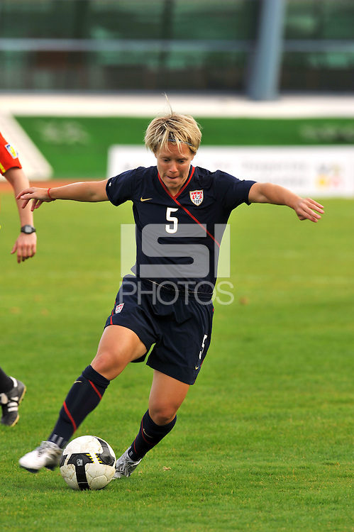 Lori Lindsey dribbles vs Iceland.  The USWNT defeated Iceland (2-0) at Vila Real Sto. Antonio in their opener of the 2010 Algarve Cup on February 24, 2010.
