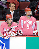 Britt Hergesheimer (BU - 2), Brian Durocher (BU - Head Coach), Meghan Riggs (BU - 5) - The Boston University Terriers defeated the visiting Northeastern University Huskies 3-2 on Saturday, January 28, 2012, at Agganis Arena in Boston, Massachusetts.