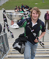 AIB Cup Final 2009. Hinch prop Paddy McAllister carries  the AIB Cup into the Dubarry Park clubhouse. Mandatory Credit - Mandatory Credit - John Dickson