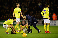 Blackburn Rovers' Elliott Bennett receives treatment for an injury from Blackburn Rovers' head of physiotherapy Andy Mitchell<br /> <br /> Photographer Chris Vaughan/CameraSport<br /> <br /> The EFL Sky Bet Championship - Sheffield United v Blackburn Rovers - Saturday 29th December 2018 - Bramall Lane - Sheffield<br /> <br /> World Copyright &copy; 2018 CameraSport. All rights reserved. 43 Linden Ave. Countesthorpe. Leicester. England. LE8 5PG - Tel: +44 (0) 116 277 4147 - admin@camerasport.com - www.camerasport.com