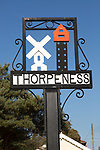 Close up of village sign at Thorpeness, Suffolk, England, UK