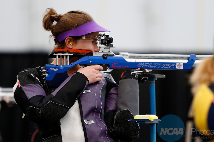 12 MAR 2016:  Mindy Miles, of Texas Christian University, shoots during the NCAA Division I Men's and Women's Rifle Championship held at the Stile Athletics Field House in Akron, OH.  Miles finished second in the competition with a final score of 208.3.  Jay LaPrete/NCAA Photos