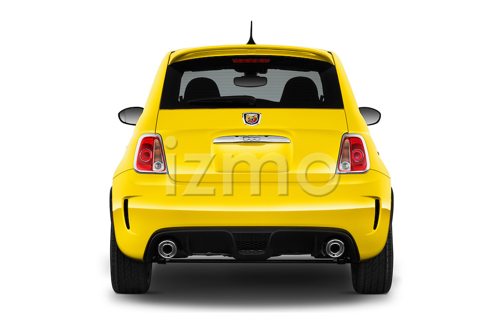 Straight rear view of 2016 Fiat 500 Abarth 3 Door Hatchback Rear View  stock images