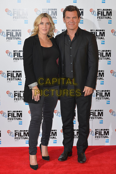 Kate Winslet and Josh Brolin <br /> 'Labor Day' photocall during the 57th BFI London Film Festival at The Mayfair Hotel, London, England.<br /> 14th October 2013 <br /> full length black blazer top pregnant suit jeans denim<br /> CAP/PL<br /> &copy;Phil Loftus/Capital Pictures