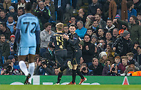 Patrick Roberts (on loan from Man City) of Celtic celebrates his goal making it 1 0 during the UEFA Champions League GROUP match between Manchester City and Celtic at the Etihad Stadium, Manchester, England on 6 December 2016. Photo by Andy Rowland.
