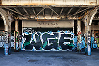 Graffiti covers the boarded up snack bar on the platform of the abandoned railway station on 16th St. in Oakland, California, that was built built in 1912 for the Southern Pacific Railroad and later used by Amtrak.