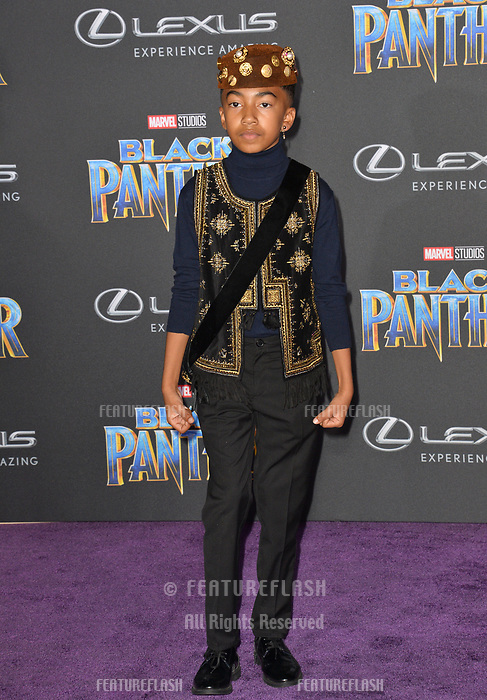 Miles Brown at the world premiere for &quot;Black Panther&quot; at the Dolby Theatre, Hollywood, USA 29 Jan. 2018<br /> Picture: Paul Smith/Featureflash/SilverHub 0208 004 5359 sales@silverhubmedia.com