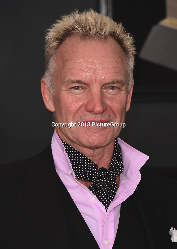 NEW YORK - JANUARY 28:  Sting at the 60th Annual Grammy Awards at Madison Square Garden on January 28, 2018 in New York City. (Photo by Scott Kirkland/PictureGroup)