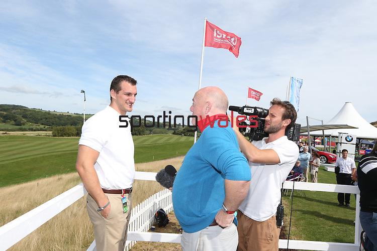 ISPS Handa Wales Open 2013<br /> Celtic Manor Resort<br /> Sam Warburton being interviewed in the tented village.<br /> 01.09.13<br /> <br /> &copy;Steve Pope-Sportingwales