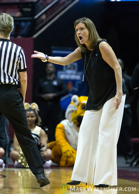 Missouri head coach Robin Pingeton questions a call during the first half of a second-round game of the NCAA women's college basketball tournament against Florida State in Tallahassee, Fla., Sunday, March 19, 2017. (AP Photo/Mark Wallheiser)