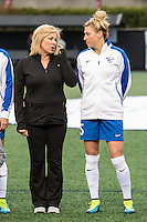 Allston, MA - Saturday, May 07, 2016: Boston Breakers defender Kassey Kallman (5) and her mother during a regular season National Women's Soccer League (NWSL) match at Jordan Field.