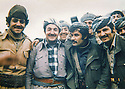 Iraq 1979 <br /> Kemal Khoshnaw with around him, Mamosta Jaffar and Cheko in Nawzang  <br /> Irak 1979  <br /> Kemal Khoshnaw entoure de Mamosta Jaffar et Cheko a Nawzang