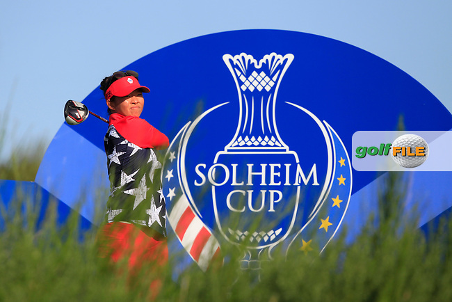 Megan Khang of Team USA on the 8th tee during Day 1 Foursomes at the Solheim Cup 2019, Gleneagles Golf CLub, Auchterarder, Perthshire, Scotland. 13/09/2019.<br /> Picture Thos Caffrey / Golffile.ie<br /> <br /> All photo usage must carry mandatory copyright credit (© Golffile   Thos Caffrey)