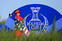 Megan Khang of Team USA on the 8th tee during Day 1 Foursomes at the Solheim Cup 2019, Gleneagles Golf CLub, Auchterarder, Perthshire, Scotland. 13/09/2019.<br /> Picture Thos Caffrey / Golffile.ie<br /> <br /> All photo usage must carry mandatory copyright credit (© Golffile | Thos Caffrey)