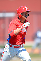 Philadelphia Phillies catcher Chace Numata during a minor league Spring Training game against the New York Yankees at Carpenter Complex on March 21, 2013 in Clearwater, Florida.  (Mike Janes/Four Seam Images)