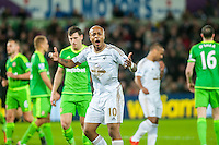 Andre Ayew of Swansea gestures to the crowd during the Barclays Premier League match between Swansea City and Sunderland played at the Liberty Stadium, Swansea  on  January the 13th 2016