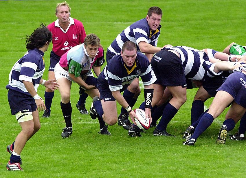 Photo. Richard Lane. .Harlequins v Bristol. Zurich Premiership. 16/9/2000.Dean Ryan breaks from the base of the scrum.