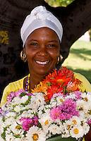 Portrait colorful woman in park in Havana Cuba Habana