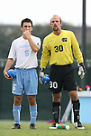 31 August 2008: UNC's Michael Callahan (5) and Jacob Wescoe (30). The University of North Carolina Tar Heels defeated the Virginia Commonwealth University Rams 1-0 in overtime at Fetzer Field in Chapel Hill, North Carolina in an NCAA Division I Men's college soccer game.