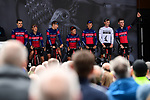 Team Wiggins Lecol introduced on stage before the start of Stage 1 of the 2019 Tour de Yorkshire, running 178.5km from Doncaster to Selby, Yorkshire, England. 2nd May 2019.<br /> Picture: ASO/SWPix | Cyclefile<br /> <br /> All photos usage must carry mandatory copyright credit (&copy; Cyclefile | ASO/SWPix)
