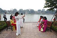 Life around Hoan Kiem Lake in Hanoi, January 2016.