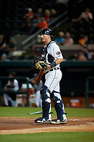Lakeland Flying Tigers catcher Austin Athmann (19) during a Florida State League game against the Tampa Tarpons on April 5, 2019 at Publix Field at Joker Marchant Stadium in Lakeland, Florida.  Lakeland defeated Tampa 5-3.  (Mike Janes/Four Seam Images)