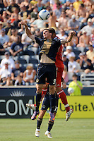 Sebastien Le Toux (9) of the Philadelphia Union goes up for a header during a Major League Soccer (MLS) match at PPL Park in Chester, PA, on July 17, 2010.