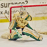 4 January 2014:  University of Vermont Catamount Goaltender Mike Santaguida, a Freshman from Mississauga, Ontario, makes a third period save against the Yale University Bulldogs at Gutterson Fieldhouse in Burlington, Vermont. With an empty net and seconds remaining, the Cats came back to tie the game 3-3 against the 10th seeded Bulldogs. Mandatory Credit: Ed Wolfstein Photo *** RAW (NEF) Image File Available ***