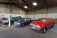 Three Mercedes Benz W123, a coupe, a sedan and an estate version at Mercedes World in Swansea, Wales, UK. Wednesday 10 October 2019