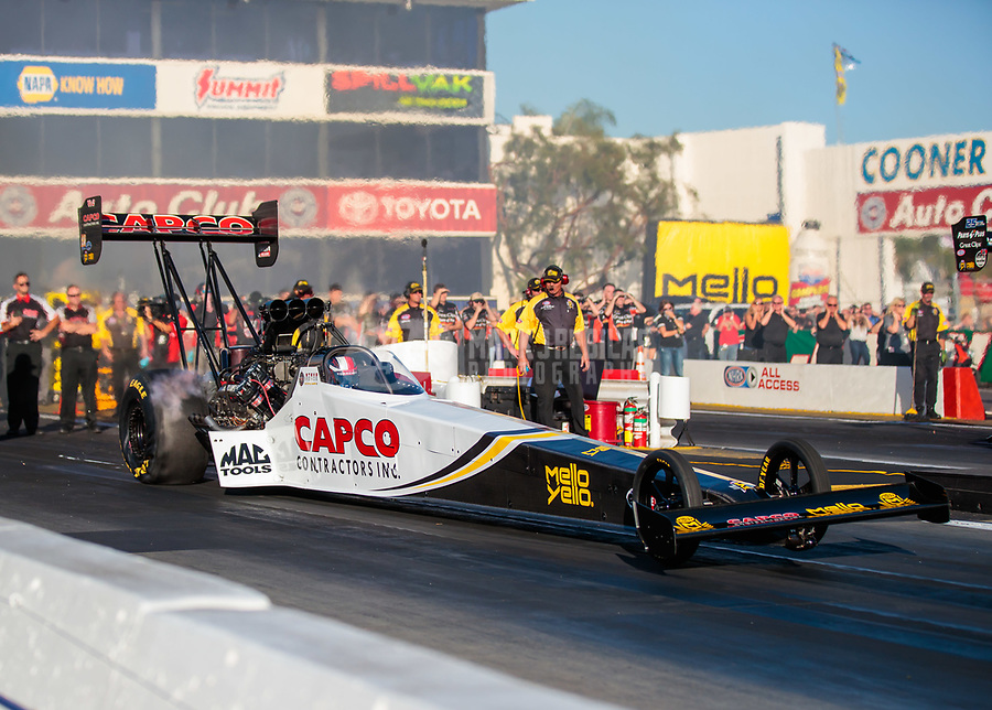 Nov 9, 2018; Pomona, CA, USA; NHRA top fuel driver Steve Torrence during qualifying for the Auto Club Finals at Auto Club Raceway. Mandatory Credit: Mark J. Rebilas-USA TODAY Sports