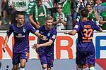 12.05.2018, OPEL Arena, Mainz, GER, 1.FBL, 1. FSV Mainz 05 vs SV Werder Bremen<br /> <br /> im Bild<br /> Florian Kainz (Werder Bremen #07) bejubelt Ausgleich zum 1:1 mit Maximilian Eggestein (Werder Bremen #35) und Marco Friedl (Werder Bremen #32), <br /> <br /> Foto &copy; nordphoto / Ewert