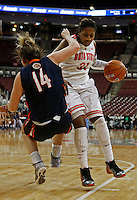 Ohio State Buckeyes guard Raven Ferguson (31) draws foul against Tennessee Martin Skyhawks forward Chelsea Roberts (14) in the second half at Value City Arena in Columbus Dec. 17, 2013.(Dispatch photo by Eric Albrecht)