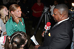 25 November 2008: Lori Chalupny, U.S. Olympic gold medalist and team member of the St. Louis Athletica being interviewed by local St. Louis NBC Channel 5 sportscaster Rene Knott.  Women's Profession Soccer unveiled the team name and logo for the St. Louis WPS franchise at the Missouri Athletic Club in St. Louis, Missouri.