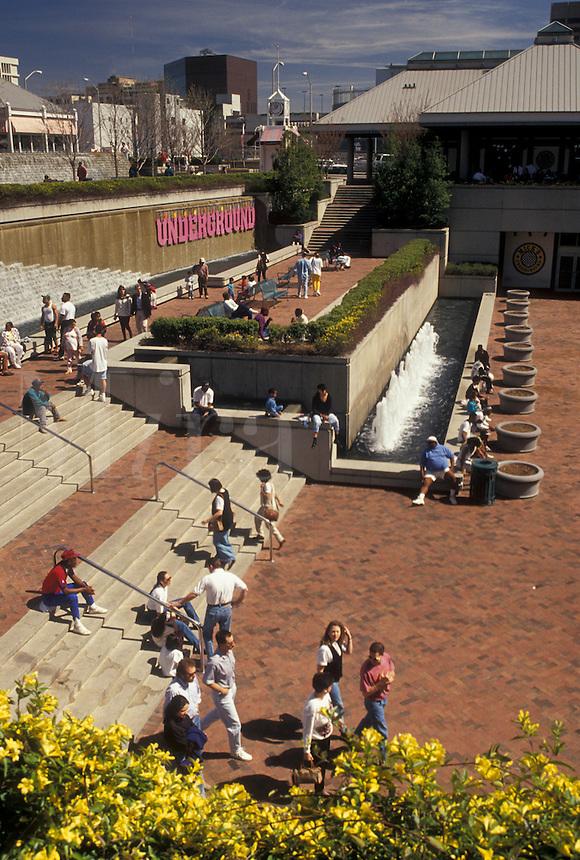 Atlanta, GA, Georgia, People sitting on the terraces and steps outside Underground Atlanta in downtown Atlanta.