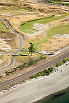 aerial view of the Lone Fir standing watch behind the 15th green of Chambers Bay Golf Course, site of the 2015 US Open Championship; University Place, WA near Tacoma