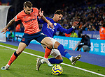 Ayoze Perez of Leicester City tackles Lucas Digne of Everton during the Premier League match at the King Power Stadium, Leicester. Picture date: 1st December 2019. Picture credit should read: Darren Staples/Sportimage
