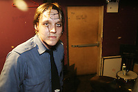 Win Butler of the band Arcade Fire backstage at the Knitting Factory in New York City on April 12, 2004.