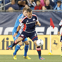 New England Revolution defender Flo Lechner (2) intercepts a pass. In a Major League Soccer (MLS) match, the New England Revolution tied Philadelphia Union, 0-0, at Gillette Stadium on September 1, 2012.
