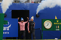 Anne Van Dam and Suzann Pettersen of Team Europe arrive on the 1st during Day 2 Fourball at the Solheim Cup 2019, Gleneagles Golf CLub, Auchterarder, Perthshire, Scotland. 14/09/2019.<br /> Picture Thos Caffrey / Golffile.ie<br /> <br /> All photo usage must carry mandatory copyright credit (© Golffile | Thos Caffrey)