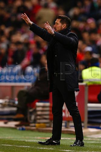 21.02.2016. Madrid, Spain.  Diego Pablo Simeone Coach of Atletico de Madrid La Liga football match between Atletico de Madrid and Villerreal CF at the Vicente Calderon stadium in Madrid, Spain, February 21, 2016 .