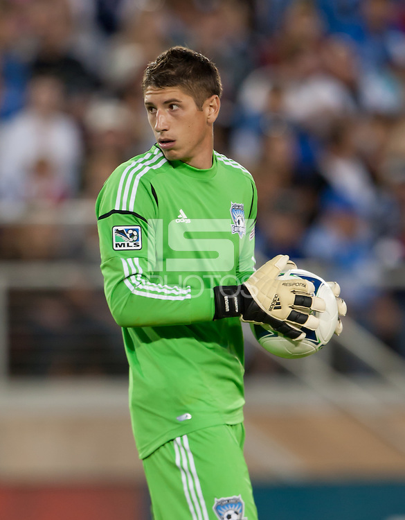 Stanford, California - Saturday June 30, 2012: David Bingham checks behind during a game at Stanford Stadium, Stanford, Ca.San Jose Earthquakes defeated Los Angeles Galaxy,  4 to 3