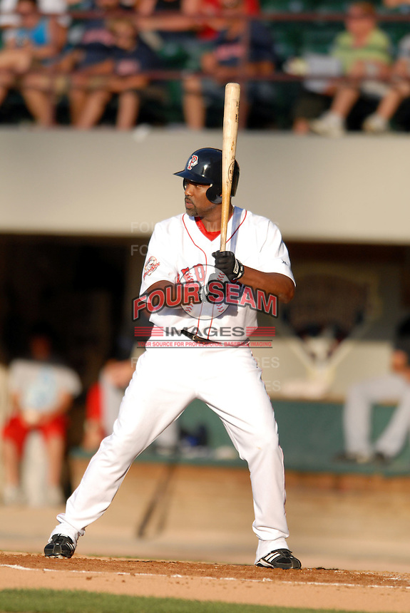 Pawtucket Red Sox 1B-DH CARLOS DELGADO during a game vs. the Buffalo Bisons at McCoy Stadium in Pawtucket, Rhode Island on August 14, 2010  Photo By Ken Babbitt/Four Seam Images