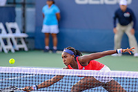 Washington, DC - August 3, 2019:  Coco Gauff (USA) reaches for the ball during the  Women Doubles finals at William H.G. FitzGerald Tennis Center in Washington, DC  August 3, 2019.  (Photo by Elliott Brown/Media Images International)