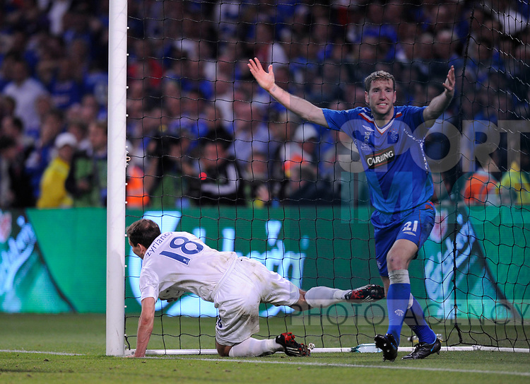 Kirk Broadfoot of Rangers appeals as Konstantin Zyryanov of Zenit St Petersburg scores the second goal during the Europa League Final match at The Etihad Stadium, Manchester. Picture date 14th May 2008. Picture credit should read: Simon Bellis/Sportimage