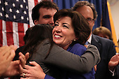 Kathy Hochul hugs her daughter Katie after being declared the winner of a special election for the NY-26th at UAW Union Hall on May 24, 2011 in Amherst, New York.  Hochul defeated heavily favored Republican candidate Jane Corwin to give the Democrats a seat in the House of Representatives after former representative Christopher Lee resigned amidst a sex scandal.  Photo By Mike Janes/Four Seam Images