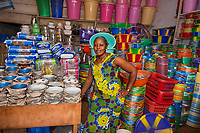 Gbongar Kamara received a loan from a micro-finance to start selling plastic goods in the Red Hill market in Monrovia, Liberia. She says her business is doing well and she makes about $300 per month.