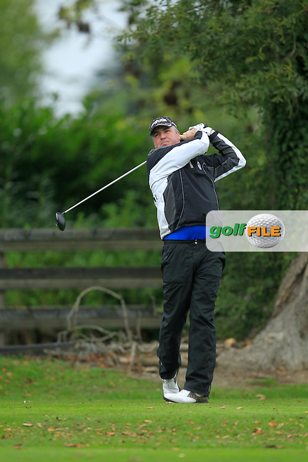 Damien Mooney (Ballyliffin G.C) on the 1st tee during Round 3 of The Cassidy Golf 103rd Irish PGA Championship in Roganstown Golf Club on Saturday 12th October 2013.<br /> Picture:  Thos Caffrey / www.golffile.ie