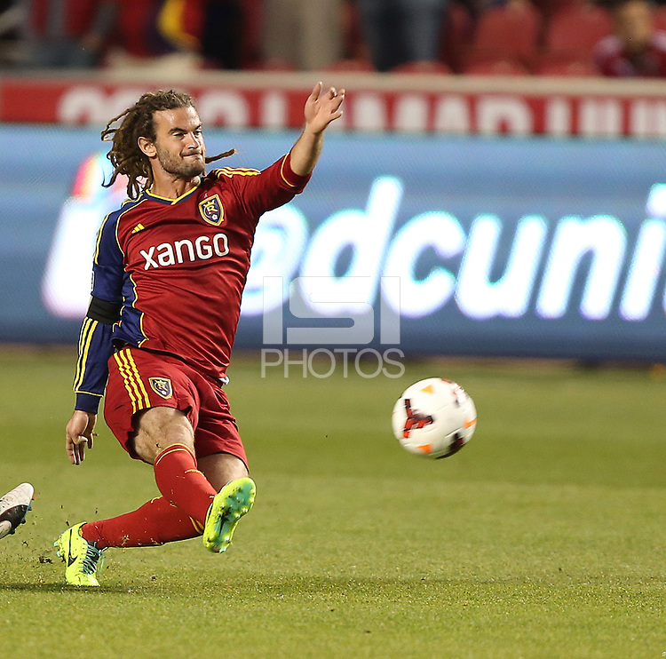 Kyle Beckerman #5 of Real Salt Lake moves the ball down field during a game against of D.C. United during the first half of the U.S. Open Cup Final on October  1, 2013 at Rio Tinto Stadium in Sandy, Utah.