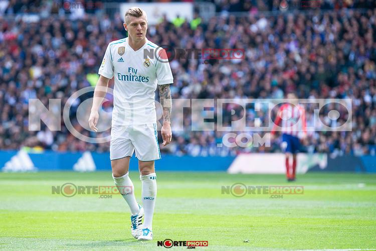 Real Madrid Toni Kroos during La Liga match between Real Madrid and Atletico de Madrid at Santiago Bernabeu Stadium in Madrid, Spain. April 08, 2018. (ALTERPHOTOS/Borja B.Hojas) /NortePhoto NORTEPHOTOMEXICO